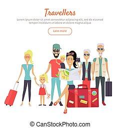 voyageurs, différent, bannière, âge, valises