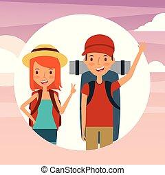 voyageurs, vacances, gens