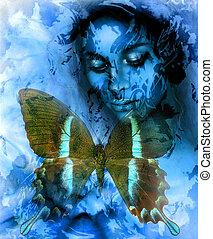 voyante, bleu, couleur, résumé, illustration, color.,...