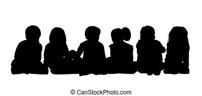 voyante, groupe, assis, 1, silhouette, enfants