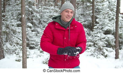 voyante, snowball., sculpts, homme, hiver, gants, coup