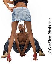 Voyeur - African American peeping up skirt, typical men,...