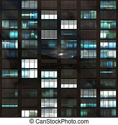 Voyeuring Office Building After Dark In Blue Tones