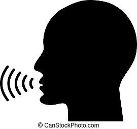 voz, falando, ícone