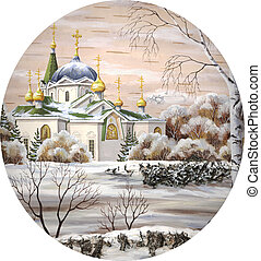 Picture, drawing distemper on a birch bark: Voznesensky cathedral, Russia, Novosibirsk