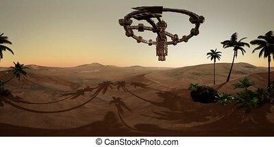 VR 360 alien spaceship rotate over desert. ufo