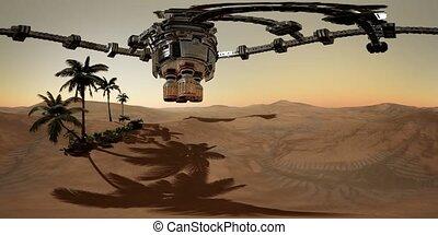VR 360 alien spaceship rotate over desert. ufo - alien...