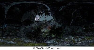 vr 360 camera hyperlapse star trails over sandstone canyon...