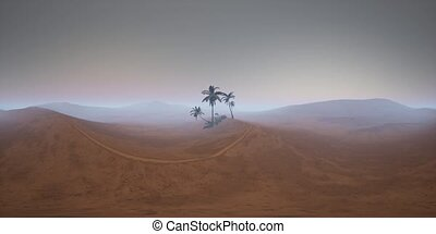 vr 360 camera moving above desert. ready for use in vr360 virtual reality