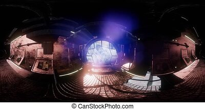 vr 360 camera moving inside a spaceship tunnel. ready for use in vr360