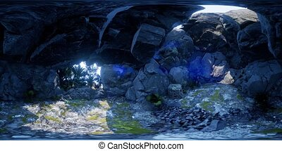 vr 360 camera moving inside tropical cave in jungle with...