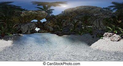 VR 360 cave paradise blue sea and sky. paradise on beach...
