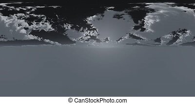 VR 360 degree Panoramic Sky and Clouds with Moon at Night....