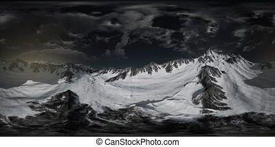 Norway mountains severe landscape. dramatic dark colors. virtual reality 360