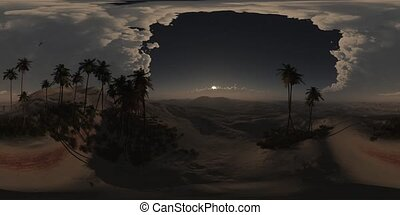 vr 360 panorama of palms in desert at night. made with the...