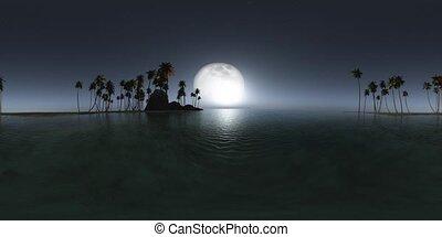vr 360 panoramic of tropical island beach at night