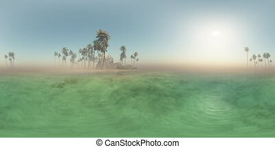 vr 360 panoramic of tropical island beach at sunset