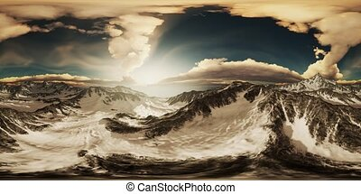 VR 360 Rays of Sunset on the Tops of the Mountains