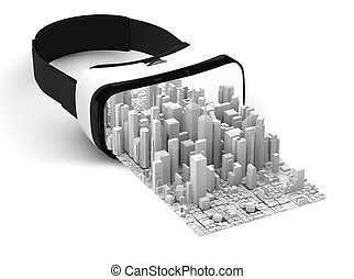 3d rendering of vr glasses isolated on white with white business city pop out
