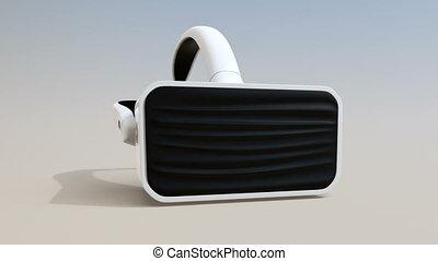 vr, casque à écouteurs, animation, 3d