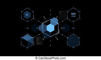 virtual hexagonal hologram over black background - vr,...