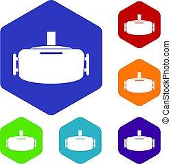 Vr device icons set hexagon