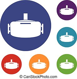 Vr device icons set