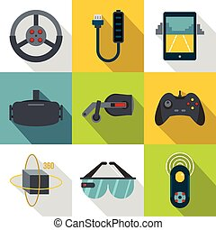 VR entertainment icon set, flat style