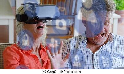 vr, femme aînée, porter, icône, casque à écouteurs, bleu