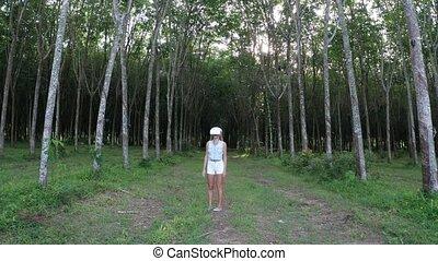 vr, femme, forêt, lunettes