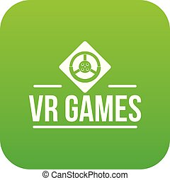Vr game icon green vector