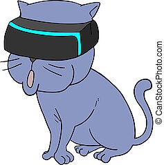 vr, gato, anteojos