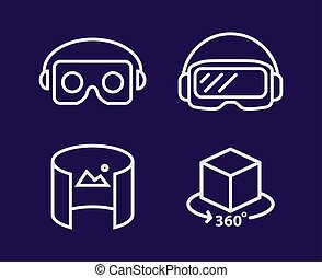 VR glasses for smartphone vector illustration line deisgn set. Virtual reality helmet isolated icon