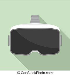 Vr glasses headset icon, flat style