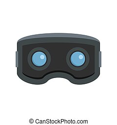Vr glasses icon, flat style