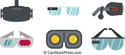 Vr glasses icon set, flat style