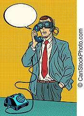 VR glasses. Steampunk cyberpunk. man talking on a retro phone