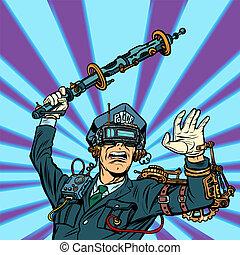 VR glasses. virtual reality. police violence, state censorship o