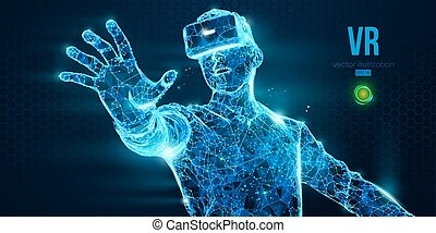 VR headset holographic low poly wireframe vector banner. ...