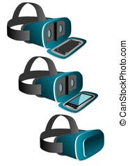 vr headset in blue - VR headset in blue equipped with a...