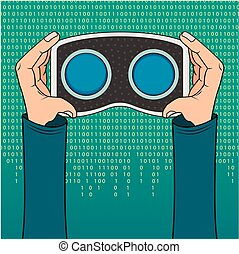 VR headset in hand icon on a green background with the...
