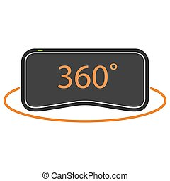 VR icon - 360 degrees virtual reality icon in orange and...
