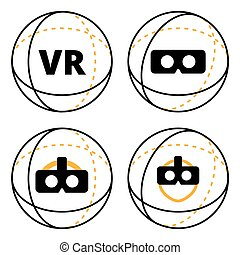 VR icons in sphere flat vector