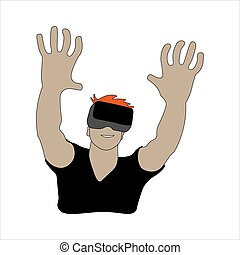 vr, illustration, homme, reality:, utilisation, headset., virtuel, vecteur, coloré