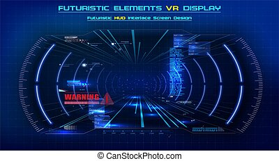 VR in modern style. Futuristic Vector HUD GUI UI UX Interface Screen Design. Sci-Fi Virtual Reality Technology. Future technology display design. Vector Illustration