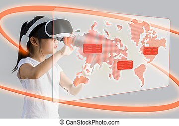 VR or Virtual Reality for Education Concept Illustrated by...
