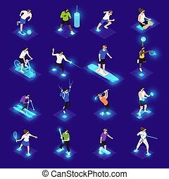 VR Sports Isometric Icons - Human characters in vr glasses...