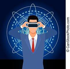 vr, utilisation, technologie, lunettes protectrices, intelligence artificielle, homme
