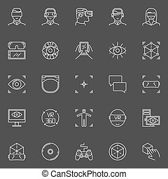 vr, vector, set, iconen