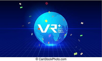 VR, VRP, digital technology earth, perspective space, deep blue technology effect vector elements.